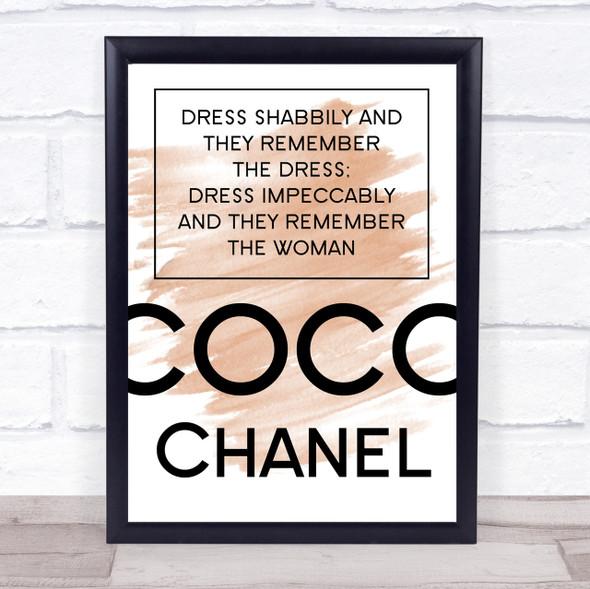 Watercolour Coco Chanel Dress Impeccably Quote Print