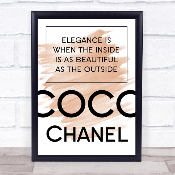 Watercolour Coco Chanel Elegance Is Quote Print