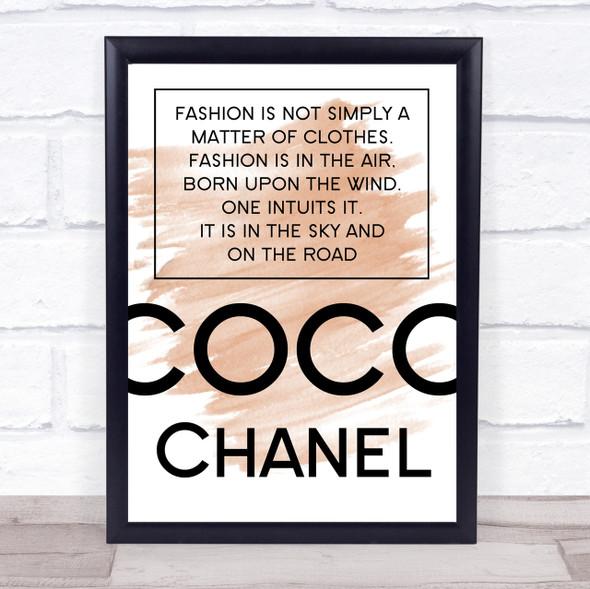 Watercolour Coco Chanel Fashion Not Clothes Quote Print
