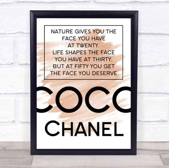 Watercolour Coco Chanel The Face You Deserve Quote Print
