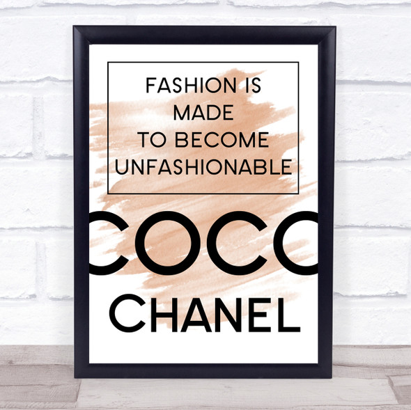Watercolour Coco Chanel Unfashionable Quote Print