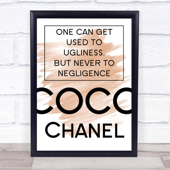 Watercolour Coco Chanel Used To Ugliness Quote Print
