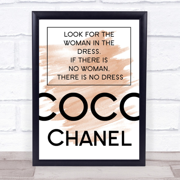 Watercolour Coco Chanel Woman In The Dress Quote Print