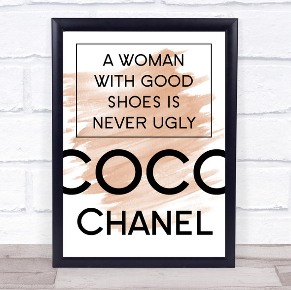 Watercolour Coco Chanel Woman With Good Shoes Quote Print