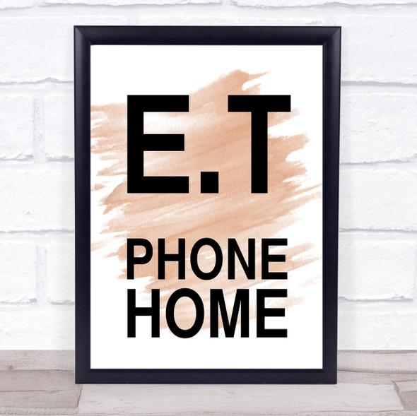 Watercolour E.T Phone Home Movie Quote Print