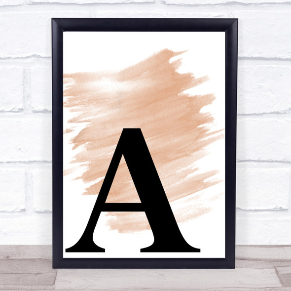 Watercolour Initial Letter A Quote Print