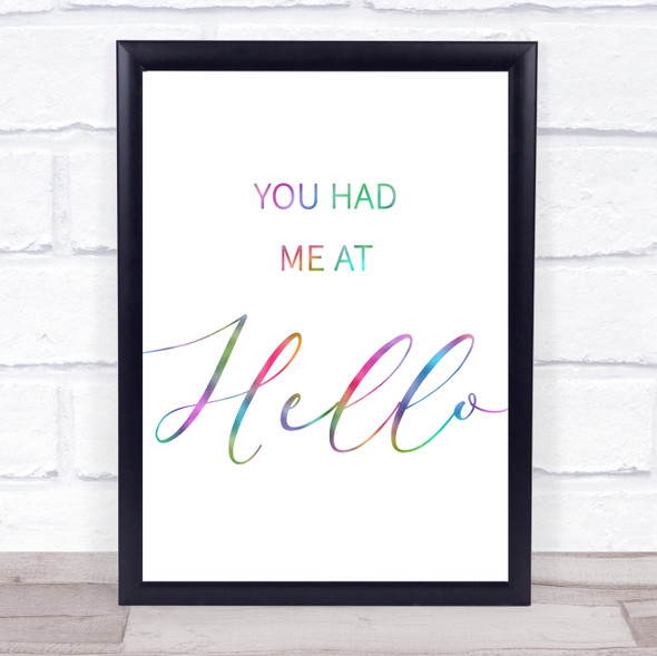Rainbow Movie Film You Had Me At Hello Jerry Maguire Quote Wall Art Print