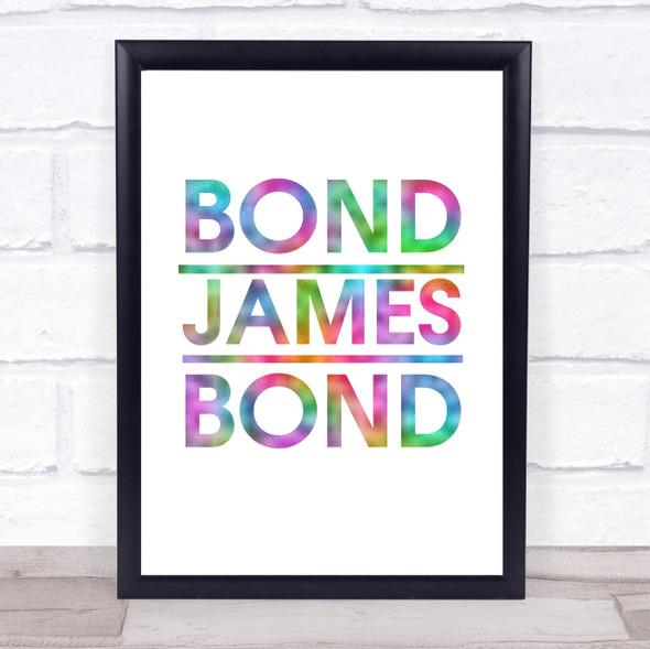 Rainbow Bond James Bond Movie Quote Wall Art Print