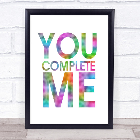 Rainbow You Complete Me Jerry Maguire Quote Wall Art Print