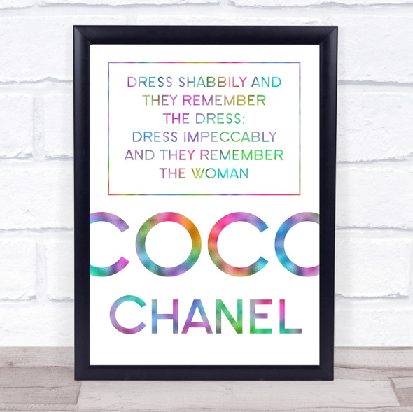 Rainbow Coco Chanel Dress Impeccably Quote Wall Art Print