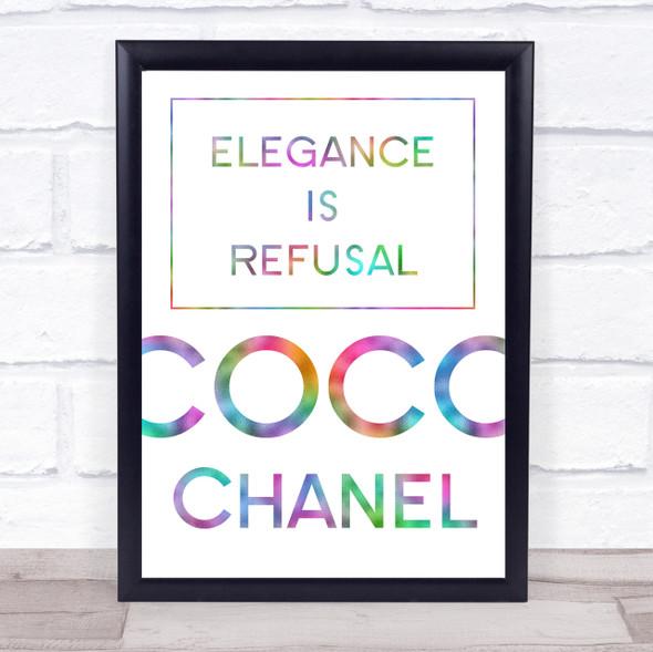 Rainbow Coco Chanel Elegance Is Refusal Quote Wall Art Print