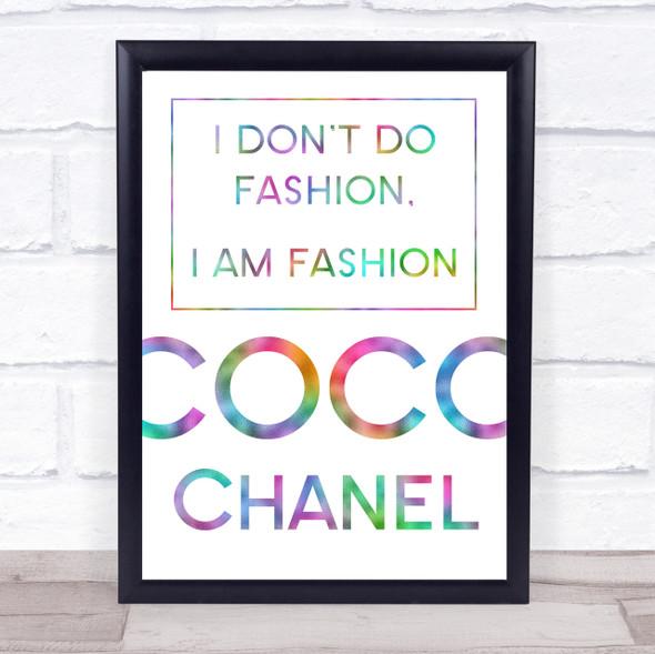 Rainbow Coco Chanel I Am Fashion Quote Wall Art Print