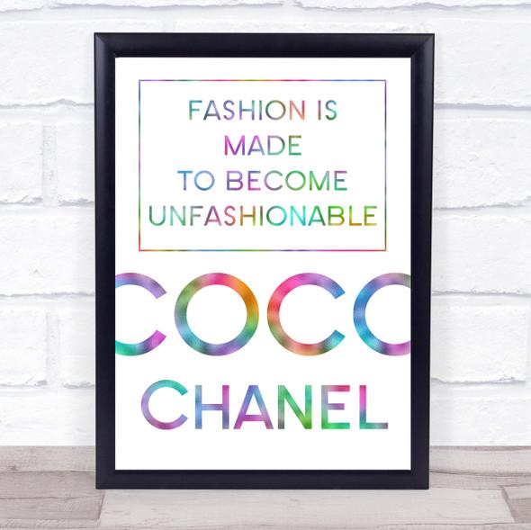 Rainbow Coco Chanel Unfashionable Quote Wall Art Print