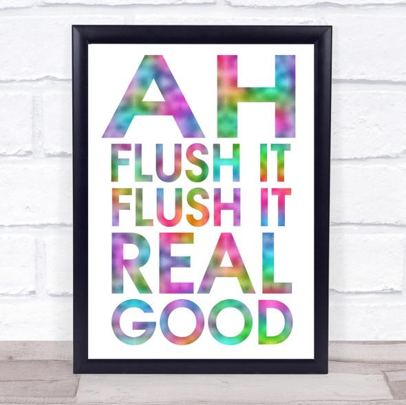 Rainbow Funny Flush It Bathroom Toilet Quote Wall Art Print