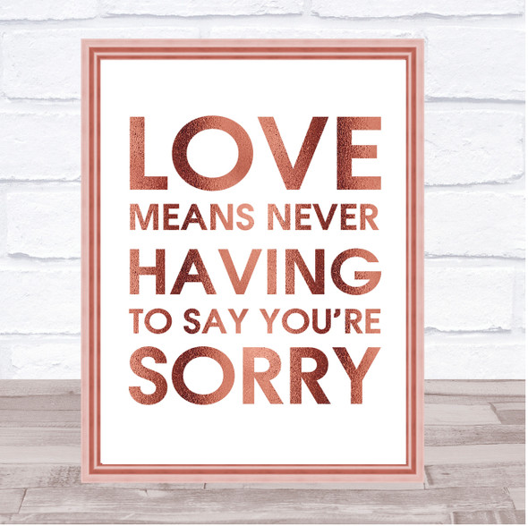 Rose Gold Love Means Never Having To Say You're Sorry Love Story Quote Print