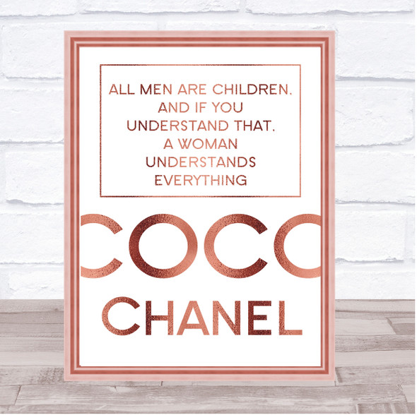 Rose Gold Coco Chanel All Men Are Children Quote Wall Art Print
