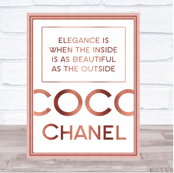 Rose Gold Coco Chanel Elegance Is Quote Wall Art Print