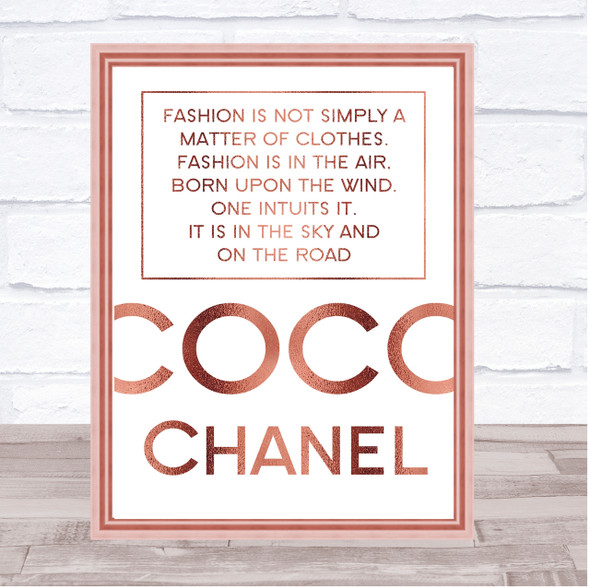 Rose Gold Coco Chanel Fashion Not Clothes Quote Wall Art Print