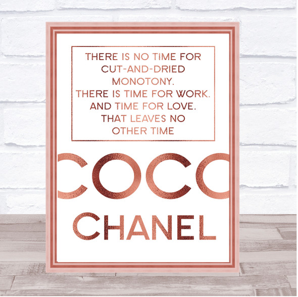 Rose Gold Coco Chanel No Time Quote Wall Art Print