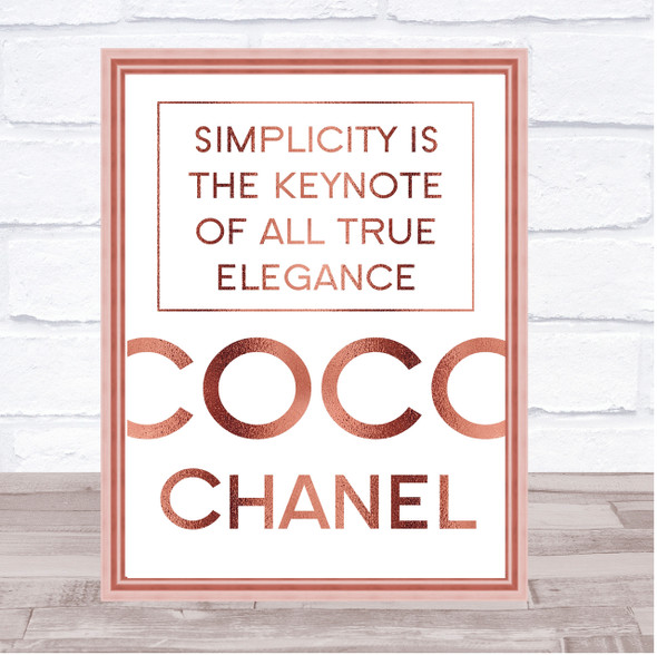 Rose Gold Coco Chanel Simplicity Quote Wall Art Print