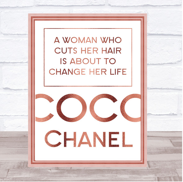 Rose Gold Coco Chanel Woman Who Cuts Her Hair Change Life Quote Wall Art Print