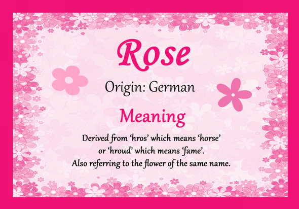 Rose Personalised Name Meaning Certificate