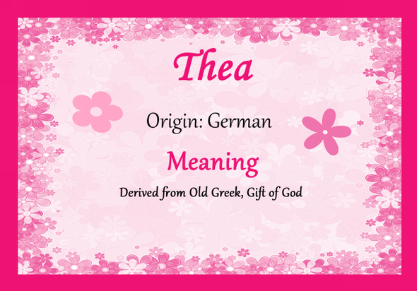 Thea Personalised Name Meaning Certificate