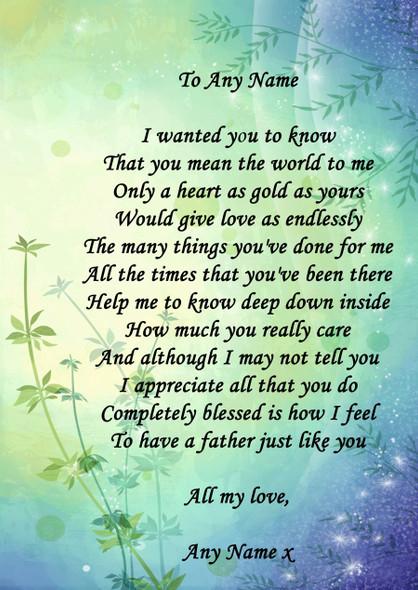 Blue Green Dad Personalised Poem Certificate
