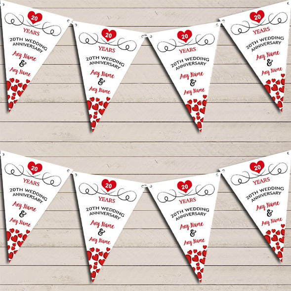 Hearts Party Decoration 20th Any Year Wedding Anniversary Bunting Party Banner