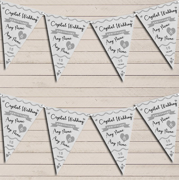 Party Decoration Crystal 15th Wedding Anniversary Bunting Garland Party Banner