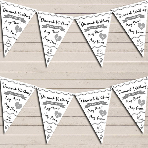Party Decoration Diamond 60th Wedding Anniversary Bunting Garland Party Banner