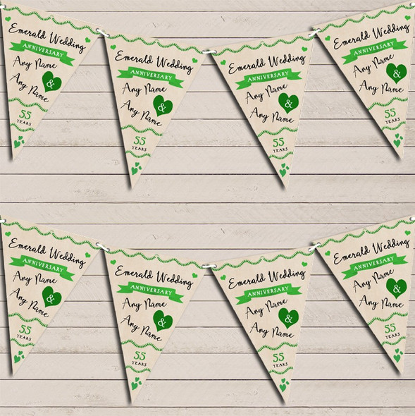 Party Decoration Emerald 55th Wedding Anniversary Bunting Garland Party Banner