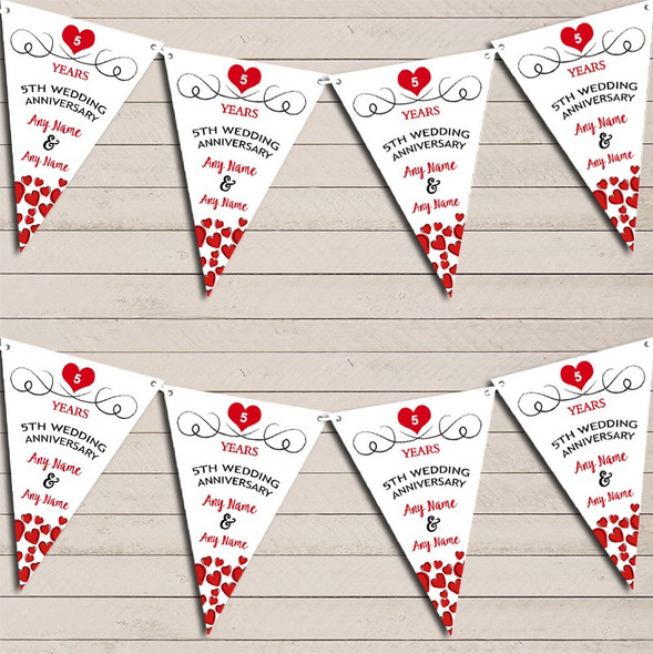 Hearts Party Decoration 5th Any Year Wedding Anniversary Bunting Party Banner