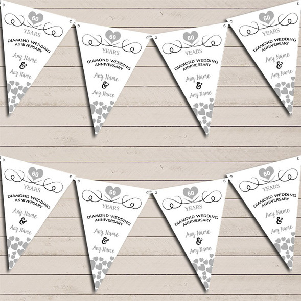 Hearts Party Decoration Diamond 60th Wedding Anniversary Bunting Party Banner
