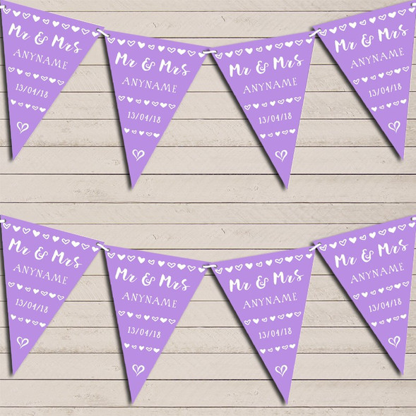 Mr & Mrs Hearts Lilac Purple Wedding Anniversary Bunting Garland Party Banner