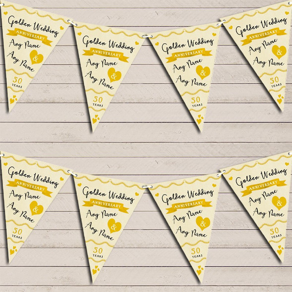 Party Decoration Golden 50th Wedding Anniversary Bunting Garland Party Banner