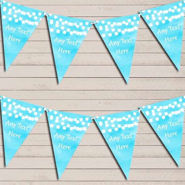 Aqua Blue Watercolour Lights Wedding Anniversary Bunting Garland Party Banner