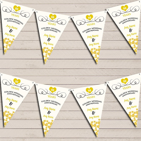 Hearts Party Decoration Golden 50th Wedding Anniversary Bunting Party Banner