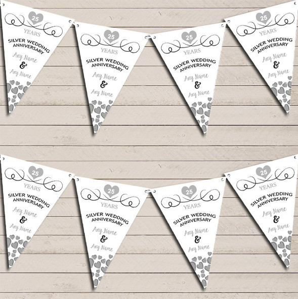 Hearts Party Decoration Silver 25th Wedding Anniversary Bunting Party Banner