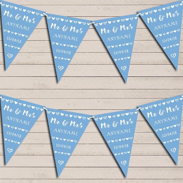 Mr & Mrs Hearts Powder Blue Wedding Anniversary Bunting Garland Party Banner