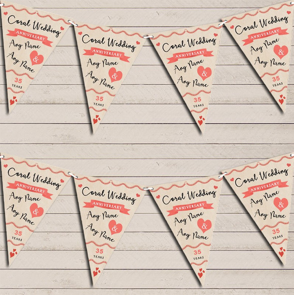 Party Decoration Coral 35th Wedding Anniversary Bunting Garland Party Banner