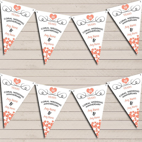 Hearts Party Decoration Coral 35th Wedding Anniversary Bunting Party Banner