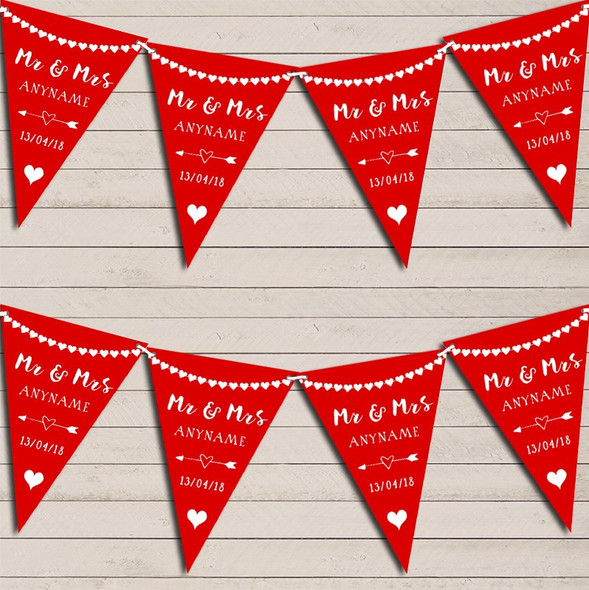 Heart Garland Mr & Mrs Red Wedding Anniversary Bunting Garland Party Banner