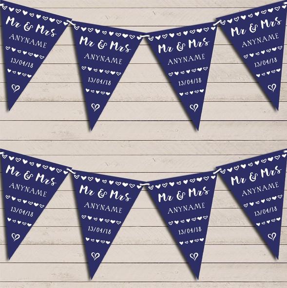 Mr & Mrs Hearts Navy Blue Wedding Anniversary Bunting Garland Party Banner