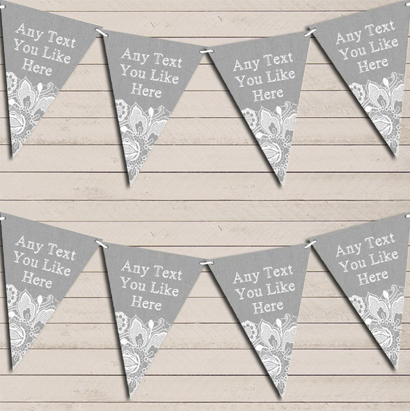 Silver Grey Burlap & Lace Wedding Anniversary Bunting Garland Party Banner