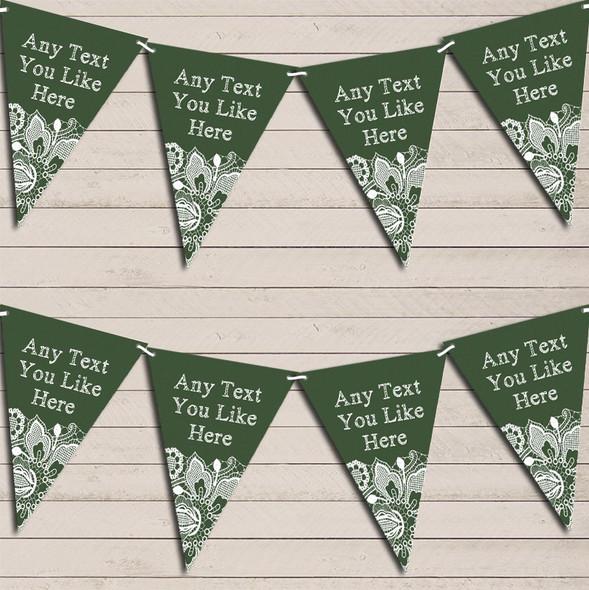 Deep Green Burlap & Lace Wedding Anniversary Bunting Garland Party Banner