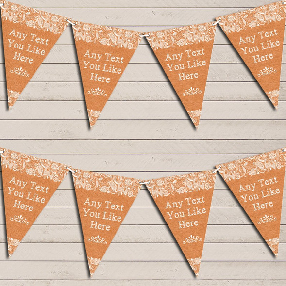 Pretty Lace Burnt Orange Wedding Anniversary Bunting Garland Party Banner