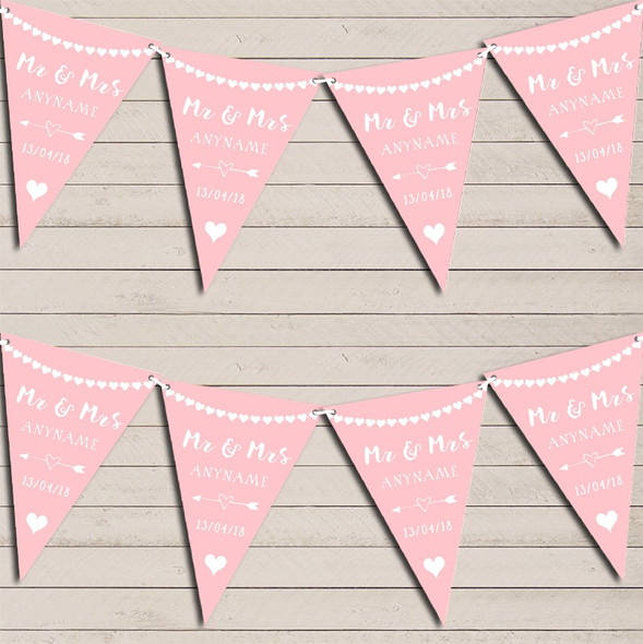 Heart Mr & Mrs Slate Blush Pink Wedding Anniversary Bunting Party Banner