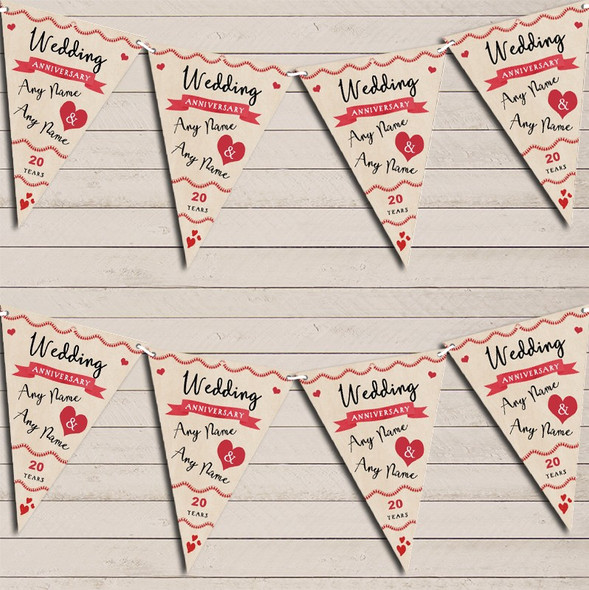 Party Decoration 20th Wedding Anniversary Bunting Garland Party Banner