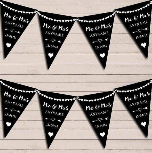 Heart Mr & Mrs Black & White Wedding Anniversary Bunting Party Banner
